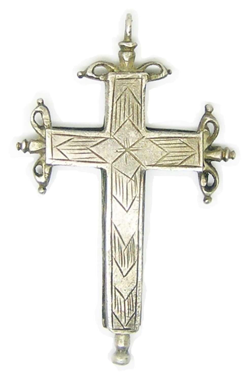 Renaissance silver reliquary cross pendant