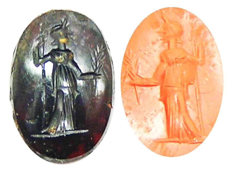 Ancient Roman sard intaglio of Pax (Peace)