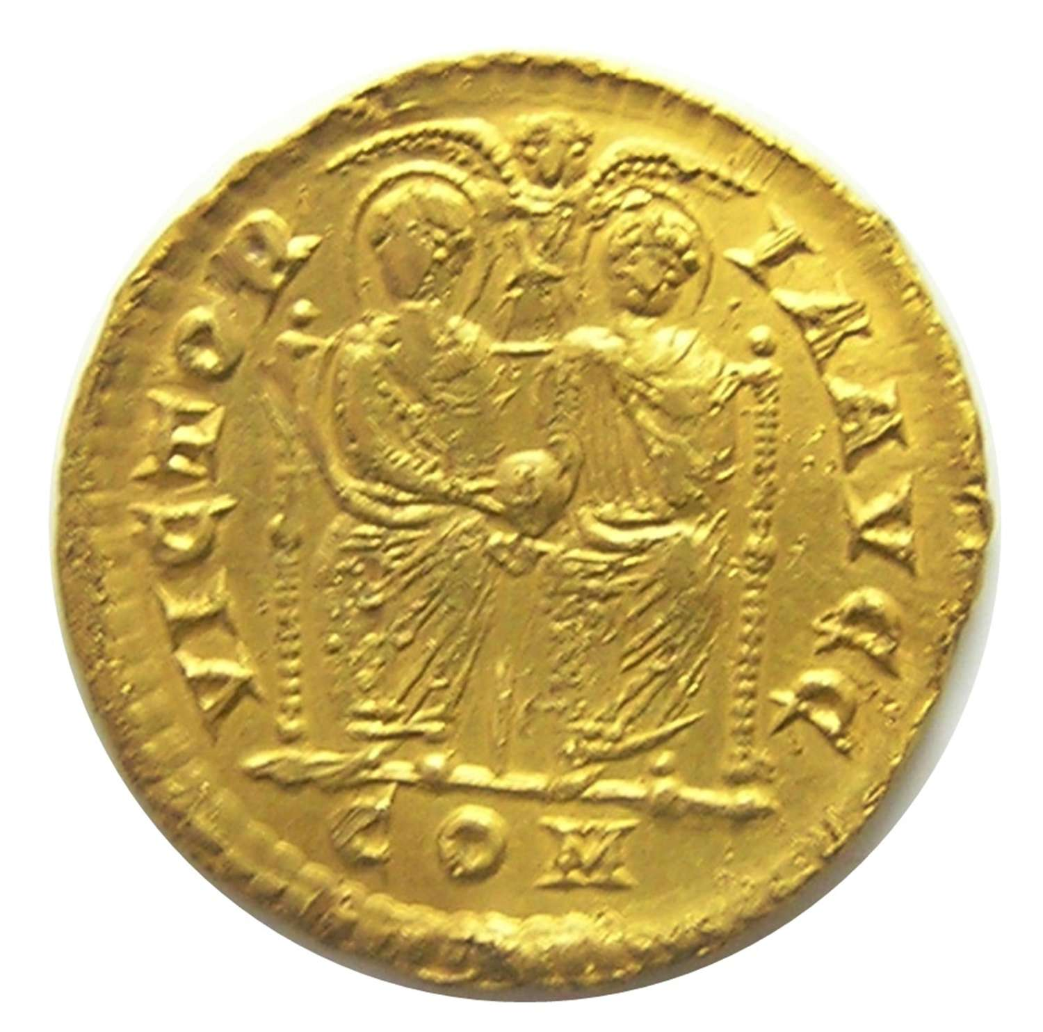 Roman gold solidus of Valentinian II