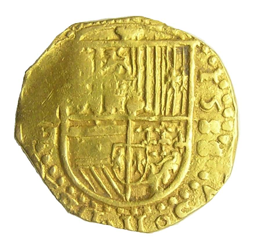 Rare Spanish Armada Gold 2 Escudos of king Philip II