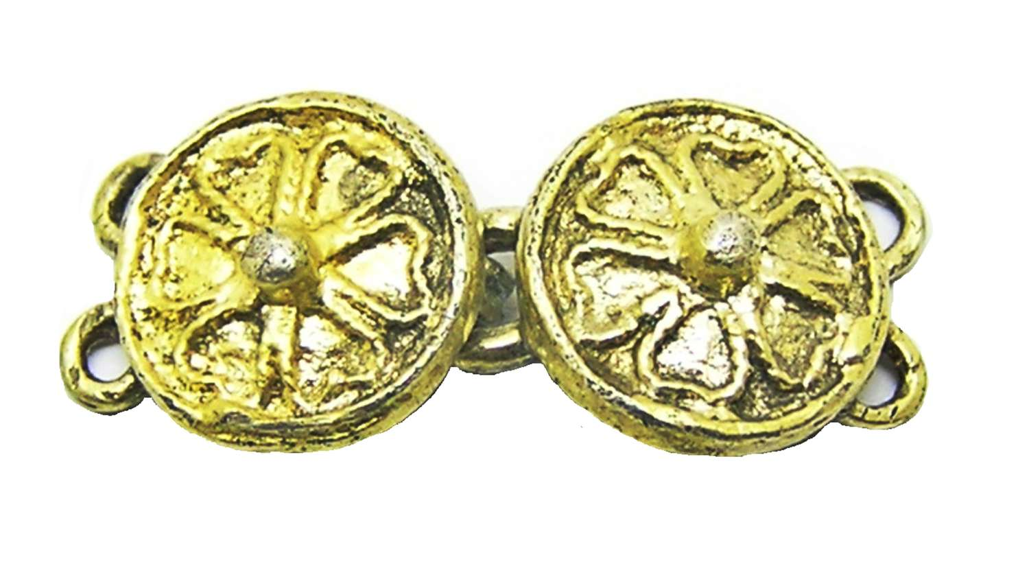 Intact pair of Tudor silver-gilt dress hooks clothing fasteners