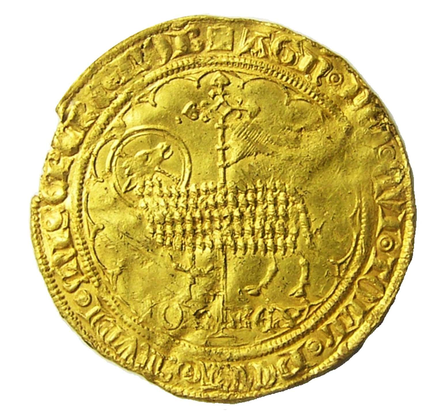 FRANCE: Medieval gold Agnel (mouton d'or) of King John II