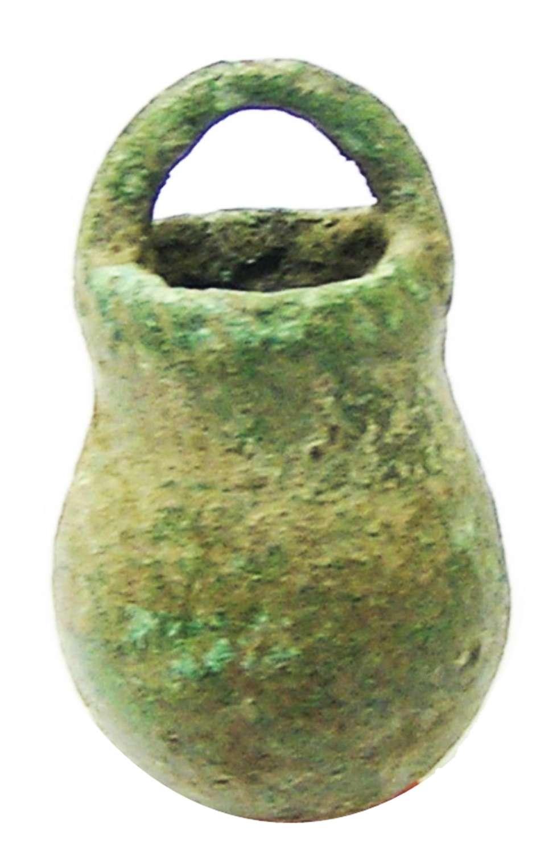 Ancient Roman bronze situla amulet