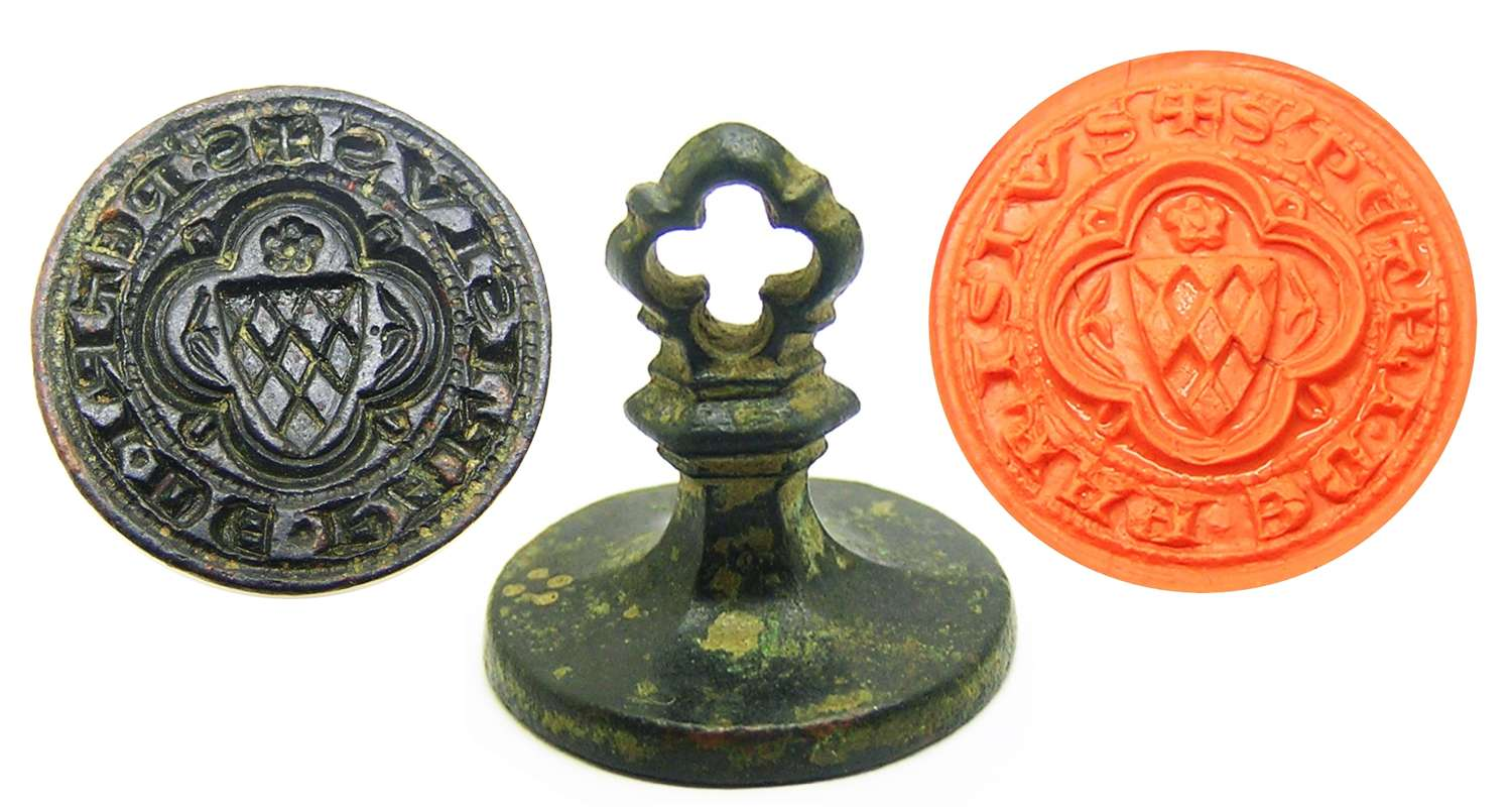 Exceptional Medieval bronze armorial seal of Peter of Paris