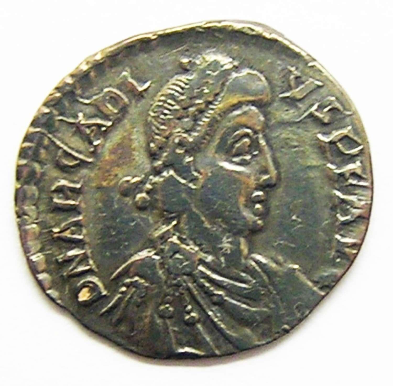 Roman silver siliqua of emperor Arcadius Trier mint