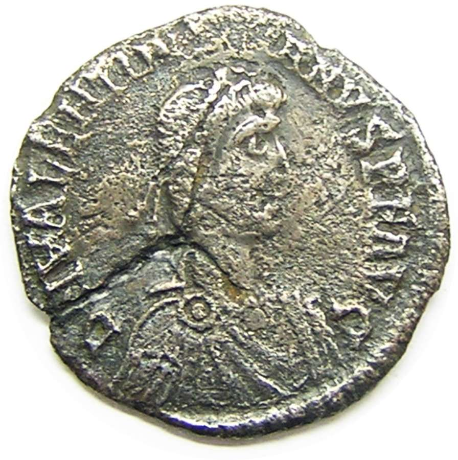 Rare Roman silver light Miliarense of Valentinian II