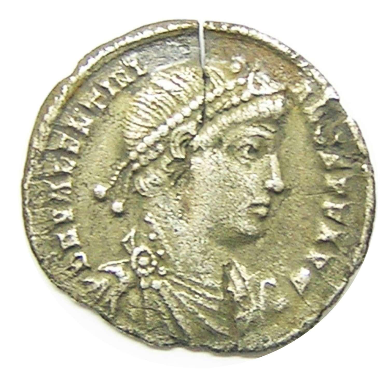 Ancient Roman Silver Siliqua of Emperor Valentinian