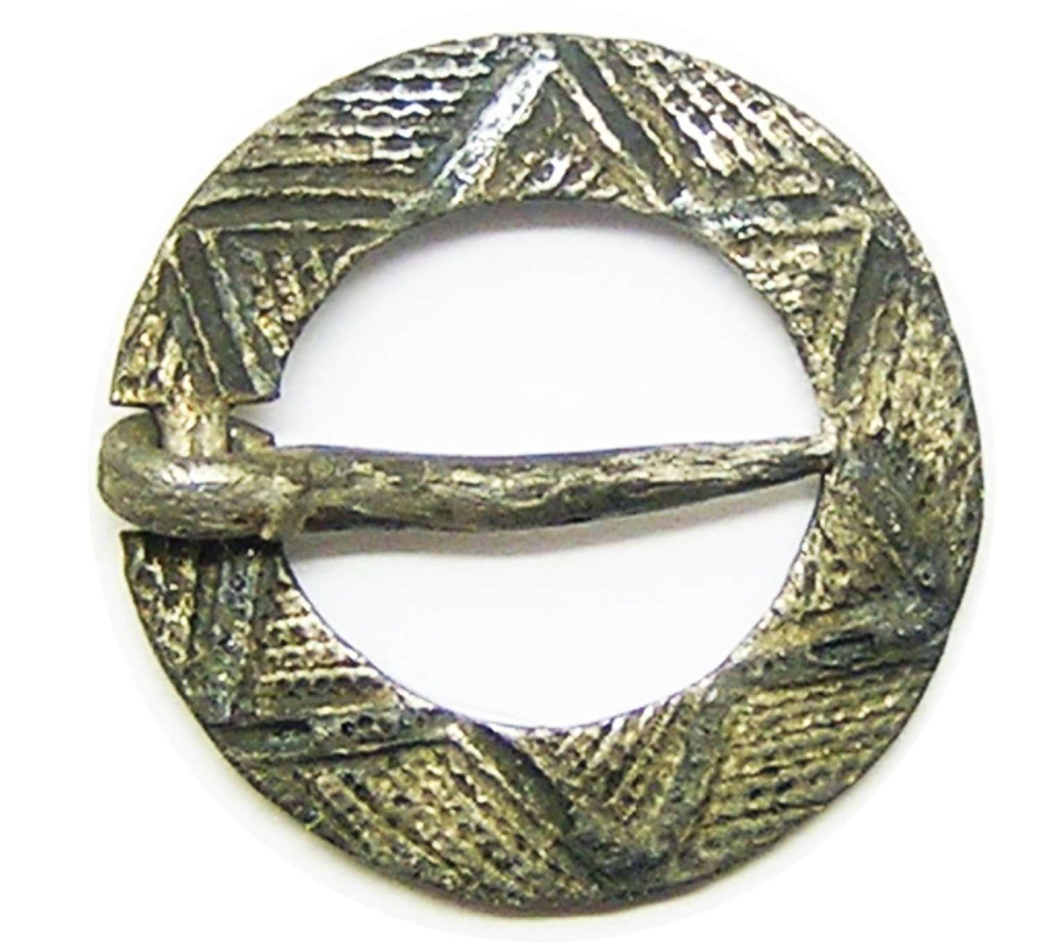 Medieval silver ring brooch decorated with six pointed star