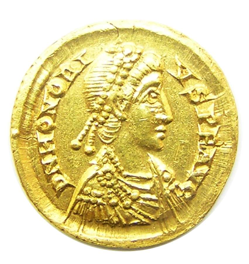 Roman gold solidus of emperor Honorius Ravenna