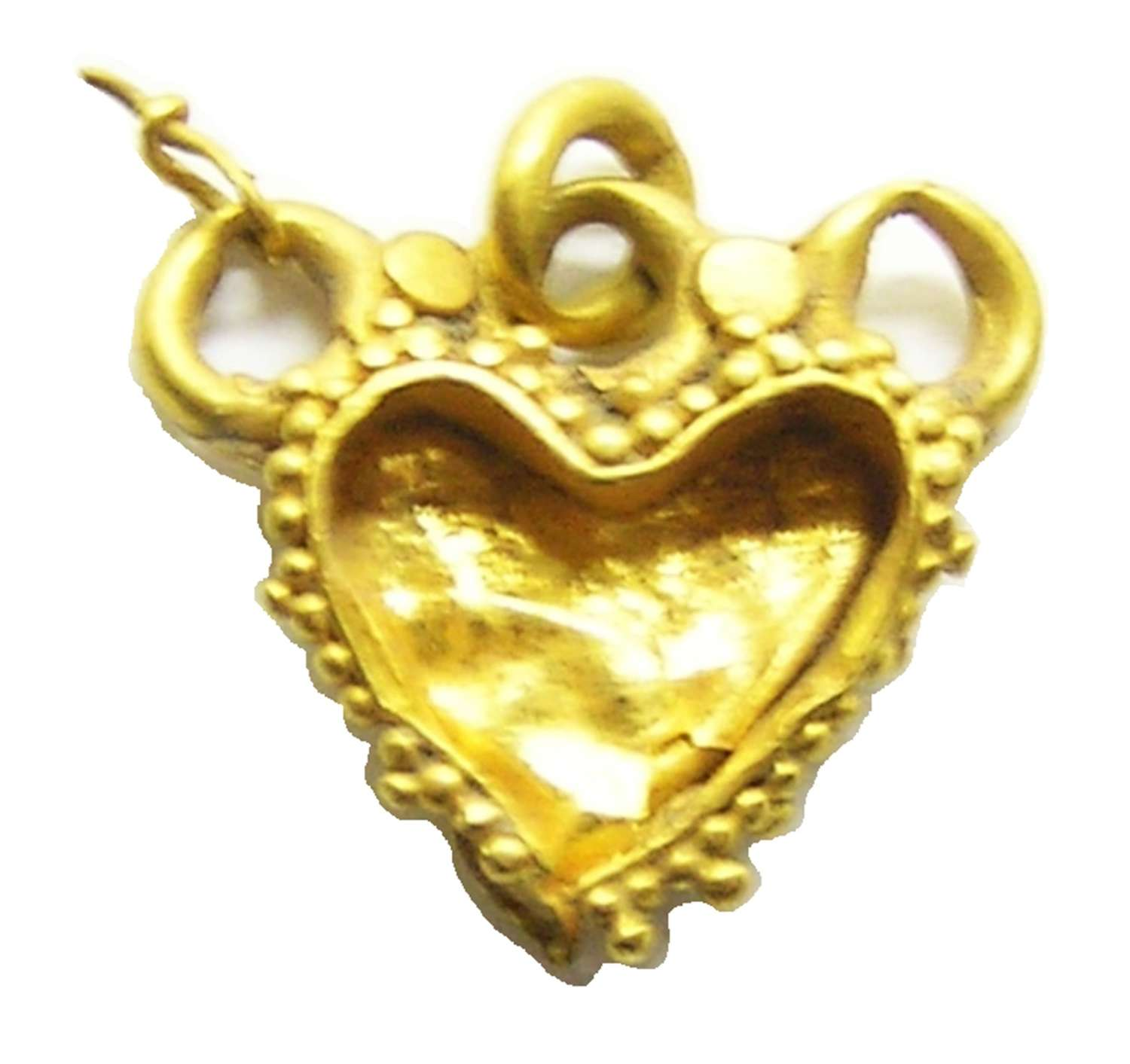 Medieval gold heart shaped reliquary amulet