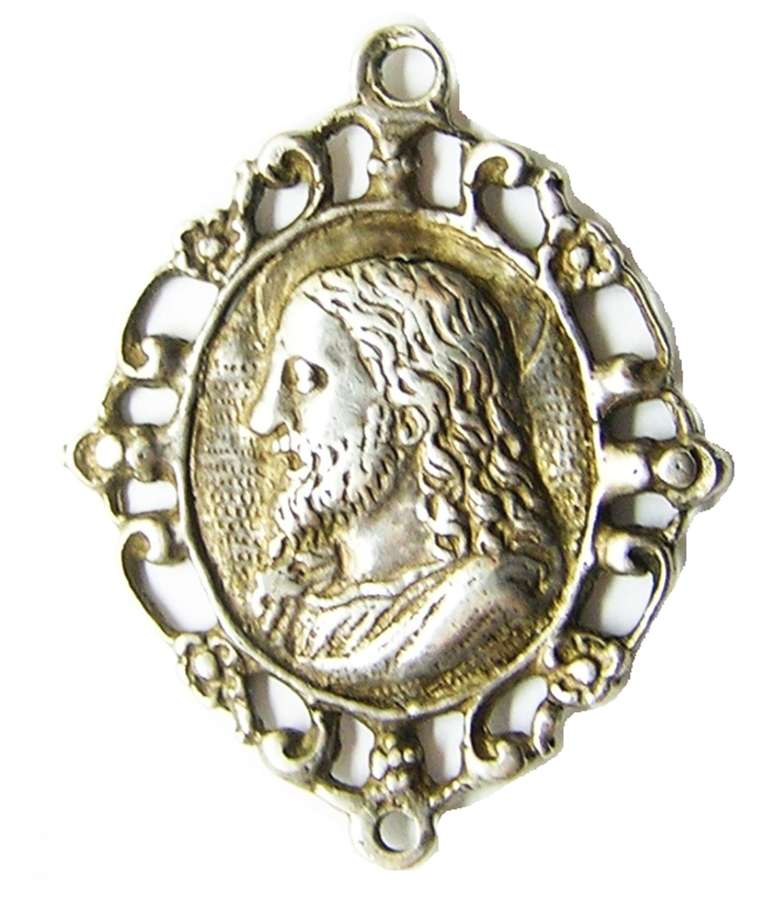 Renaissance silver devotional amulet of Christ and the Madonna