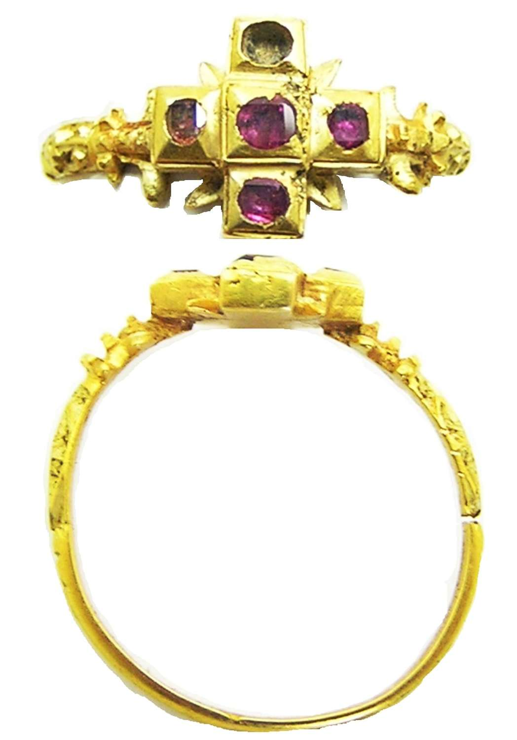 Renaissance Tudor Period gold and ruby finger ring