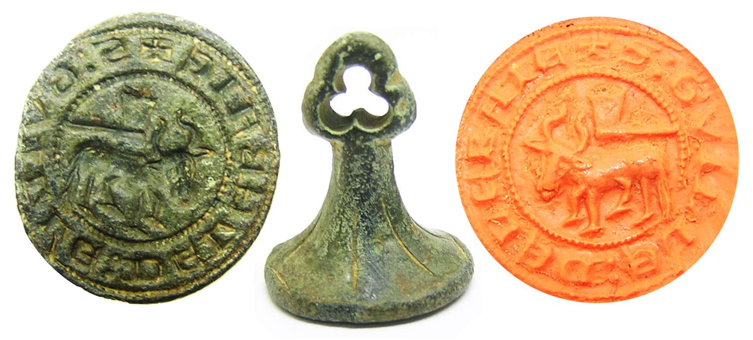 Medieval bronze seal of a butcher William from the Bay