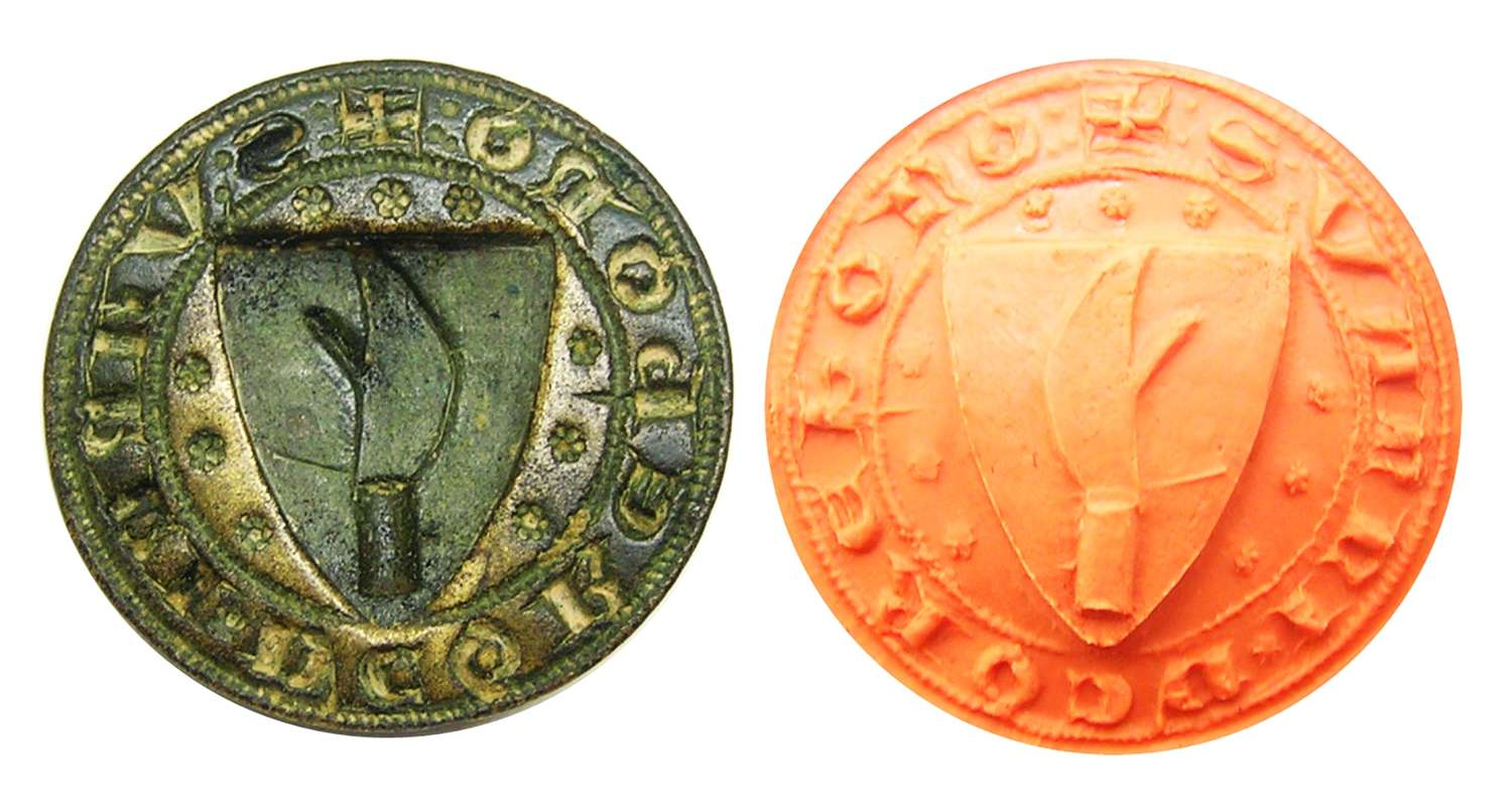 Medieval armorial seal of a Butcher or Company of Billmen?