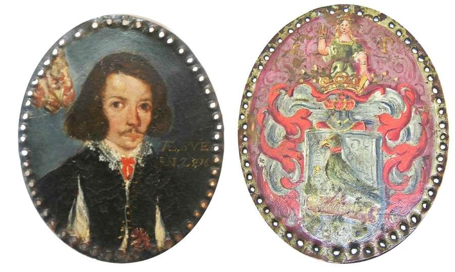 Portrait miniature of a Jacobean gentleman oil on copper