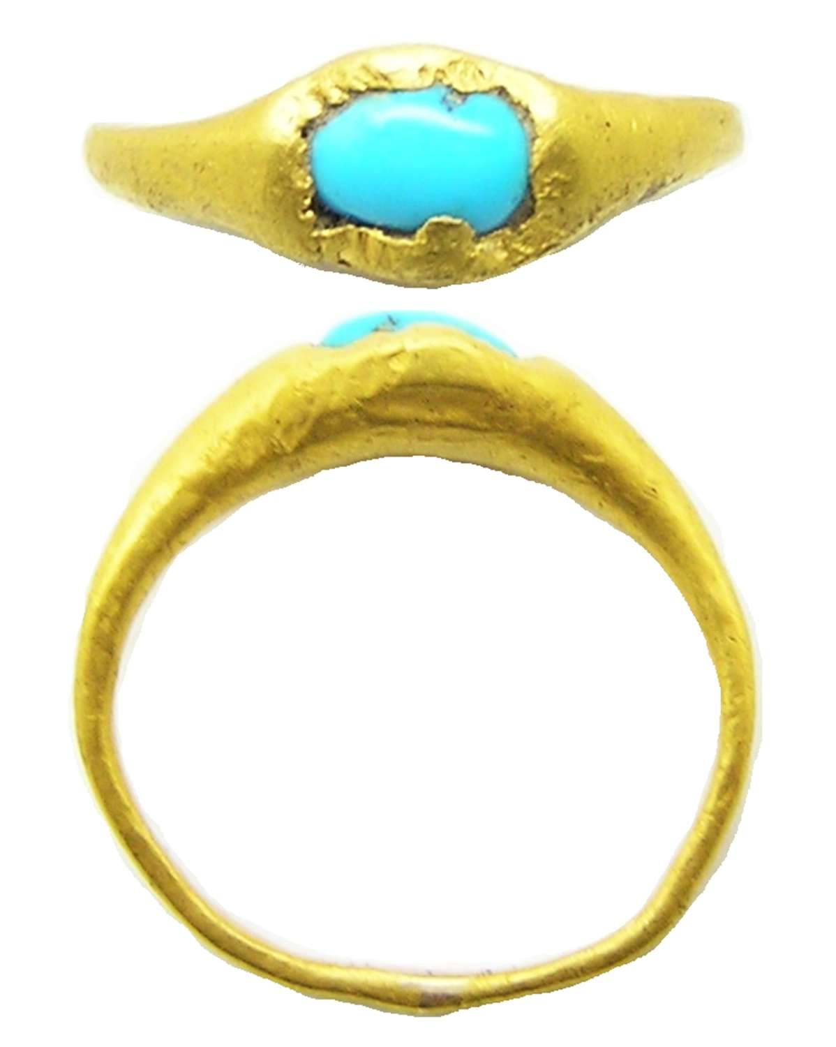 Medieval Gold & Turquoise Finger Ring
