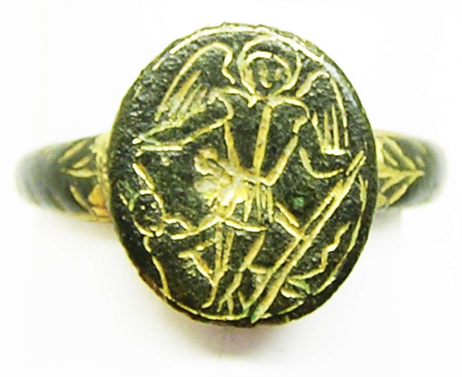 Medieval iconographic finger ring archangel Michael