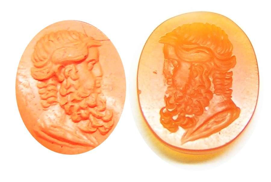 Neoclassical carnelian intaglio of Neptune