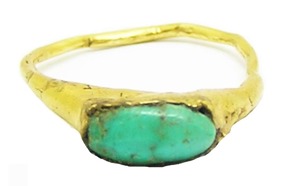 Medieval Gold & Turquoise Finger Ring