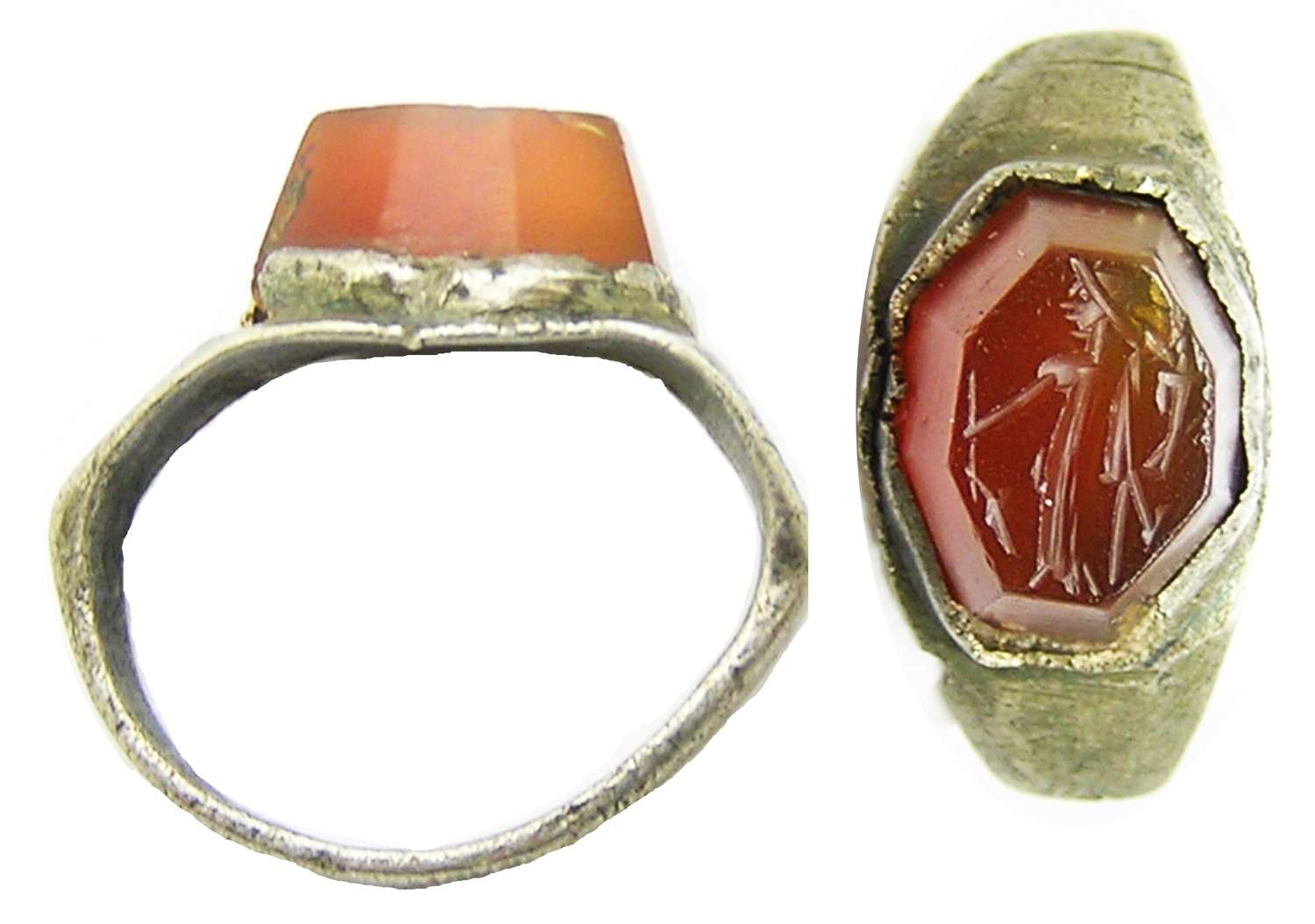 Ancient Roman silver intaglio ring of Fortuna (Lady LucK)
