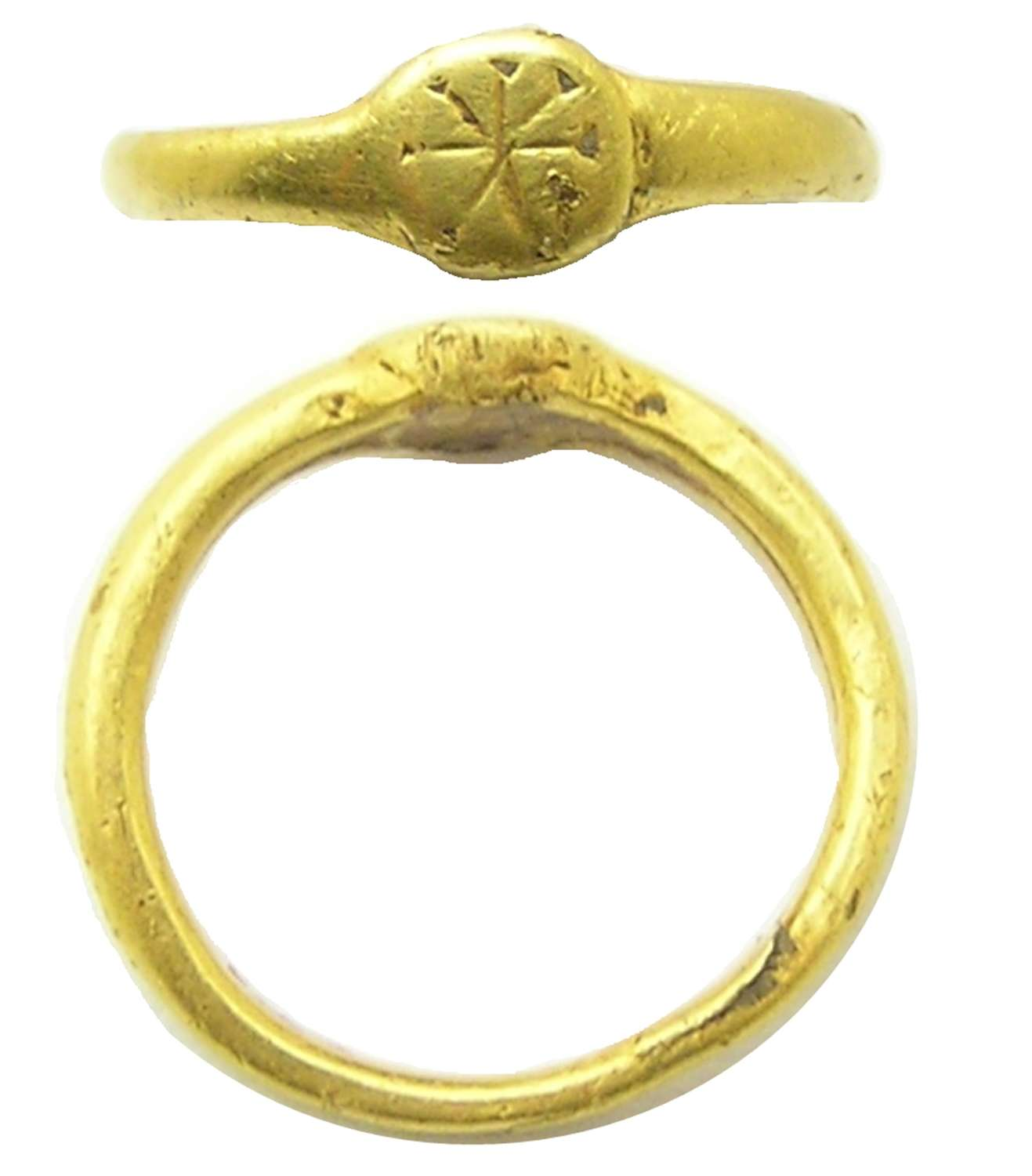 Roman gold finger ring Chi-Rho early Christian