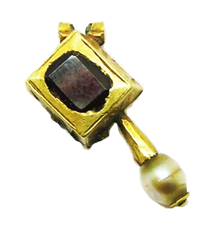 Renaissance gold, garnet and pearl pendant