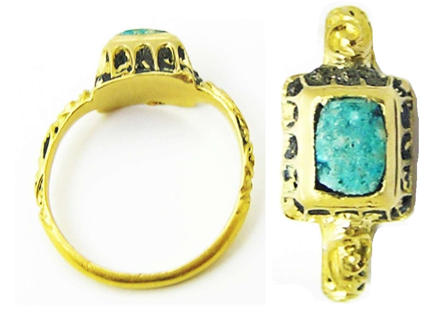 Baroque period gold and enamel finger ring