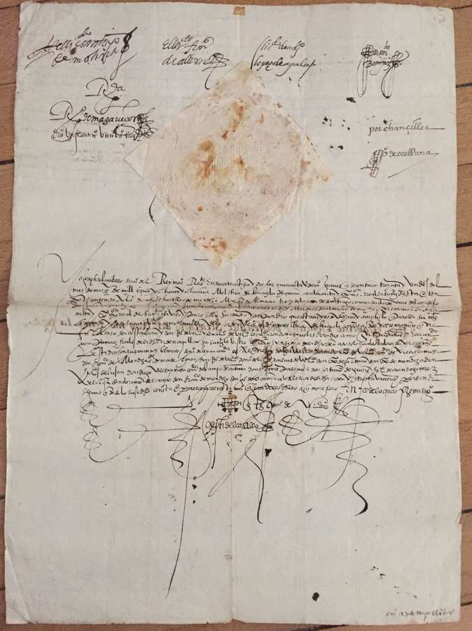 ARMADA related Manuscript King Philip II - Military Order of Santiago