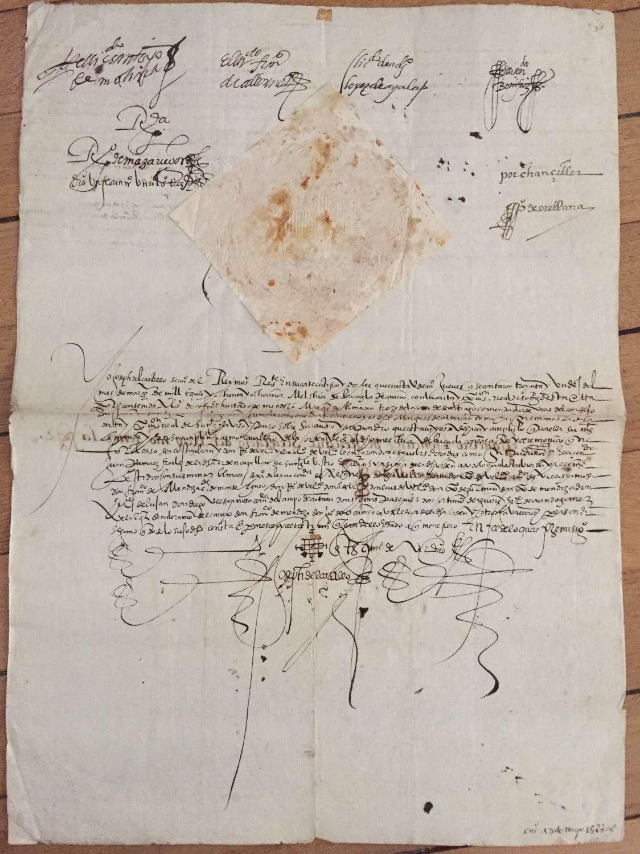 ARMADA related Manuscript King Philip II - Military Order of Santiago