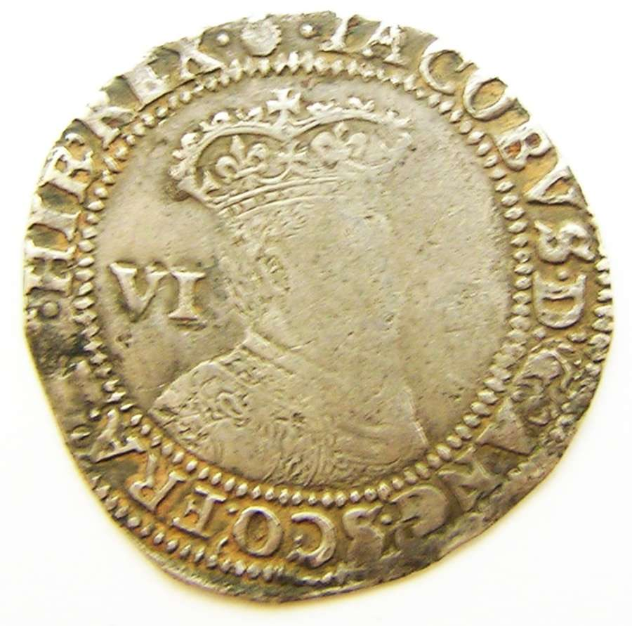 Silver sixpence of King James I