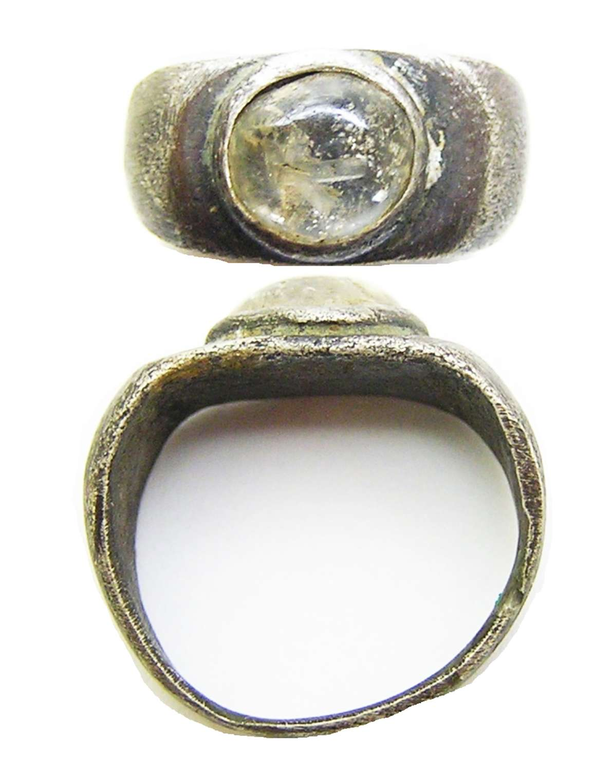 Ancient Roman silver and rock crystal finger ring