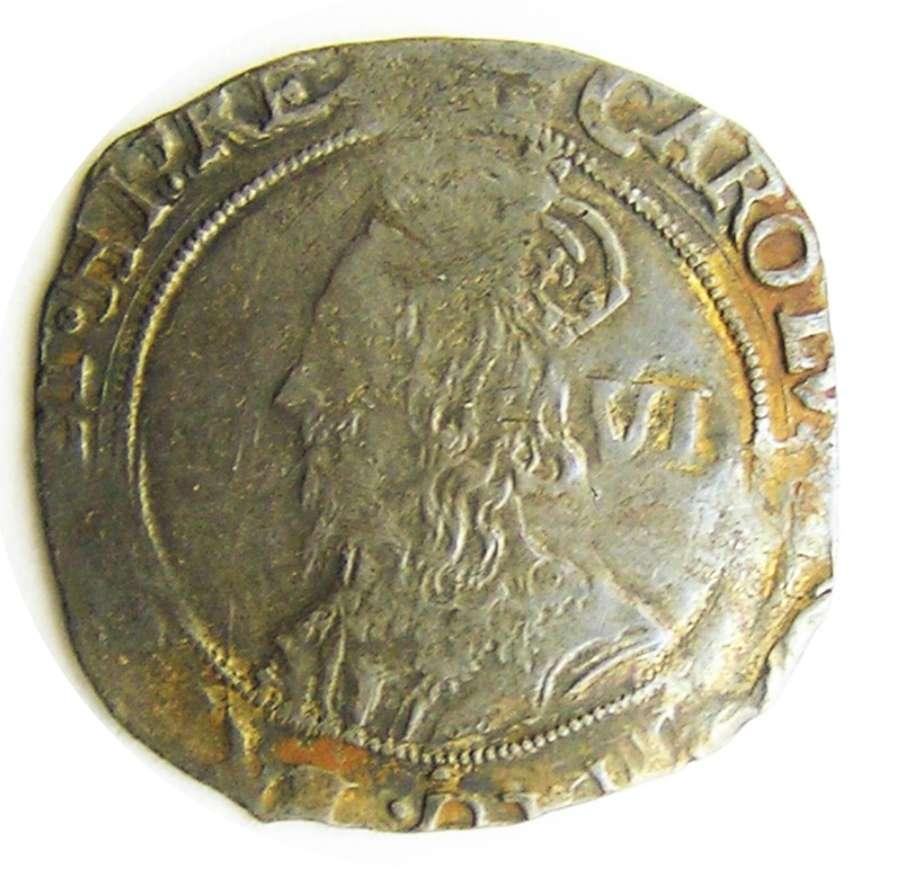 King Charles I Silver Sixpence