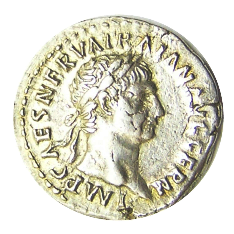 Ancient Roman Silver Denarius of Emperor Trajan