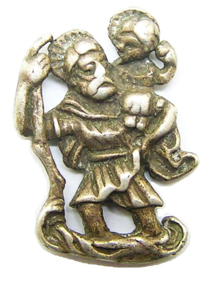 Medieval silver amulet of Saint Christopher
