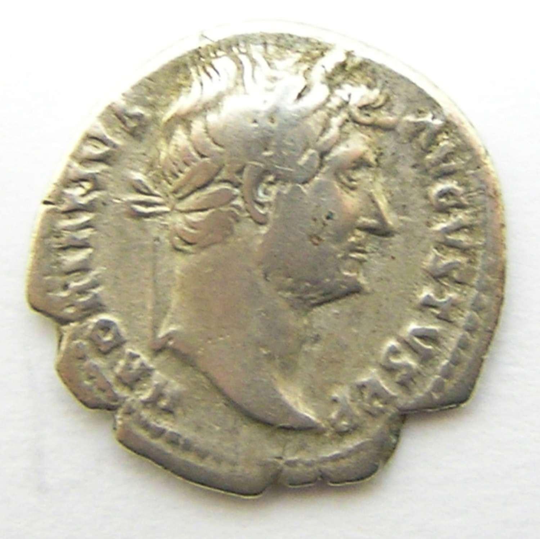 Ancient Roman Silver Denarius of Emperor Hadrian