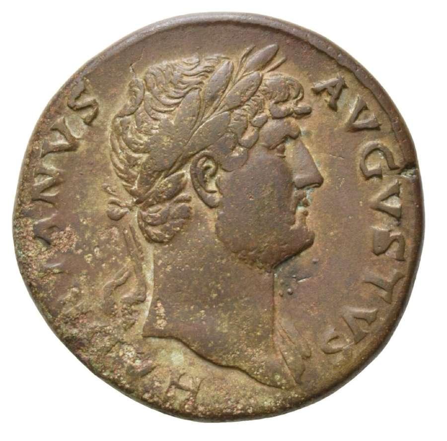 Ancient Roman AE Sestertius of Emperor Hadrian / Diana