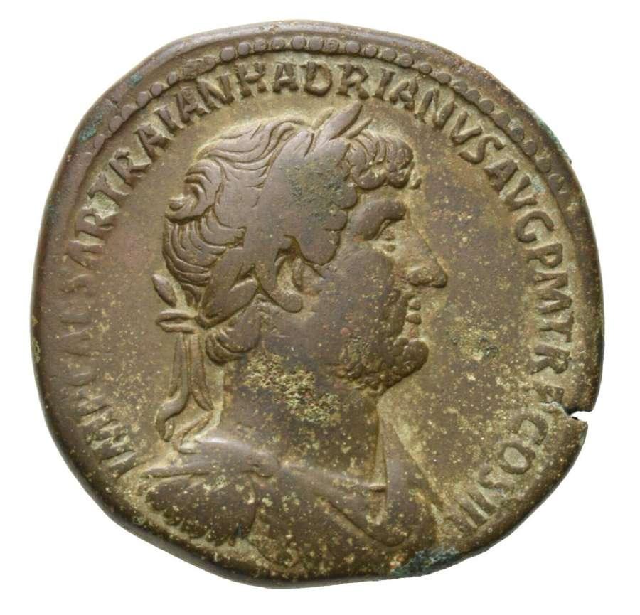 Ancient Roman AE Sestertius of Emperor Hadrian / Pietas
