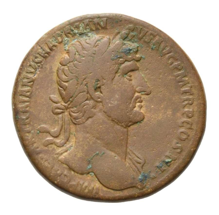 Ancient Roman AE Sestertius of Emperor Hadrian / Moneta