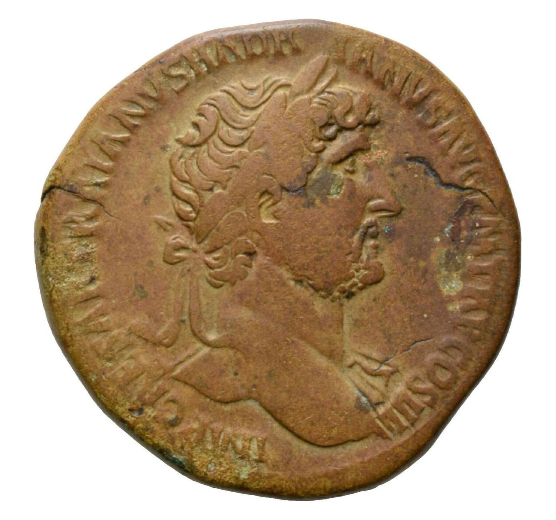 Ancient Roman AE Sestertius of Emperor Hadrian / Libertas