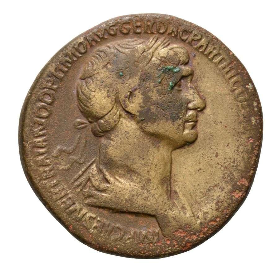 Ancient Roman AE Sestertius of Emperor Trajan / Kneeling Parthia