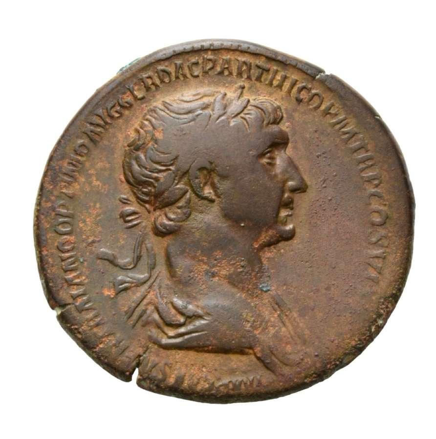 Ancient Roman AE Sestertius of Emperor Trajan / Providentia