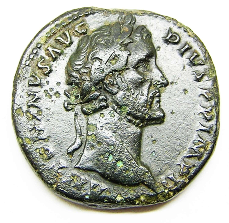 Ancient Roman AE Sestertius of Emperor Antoninus Pius / Rome