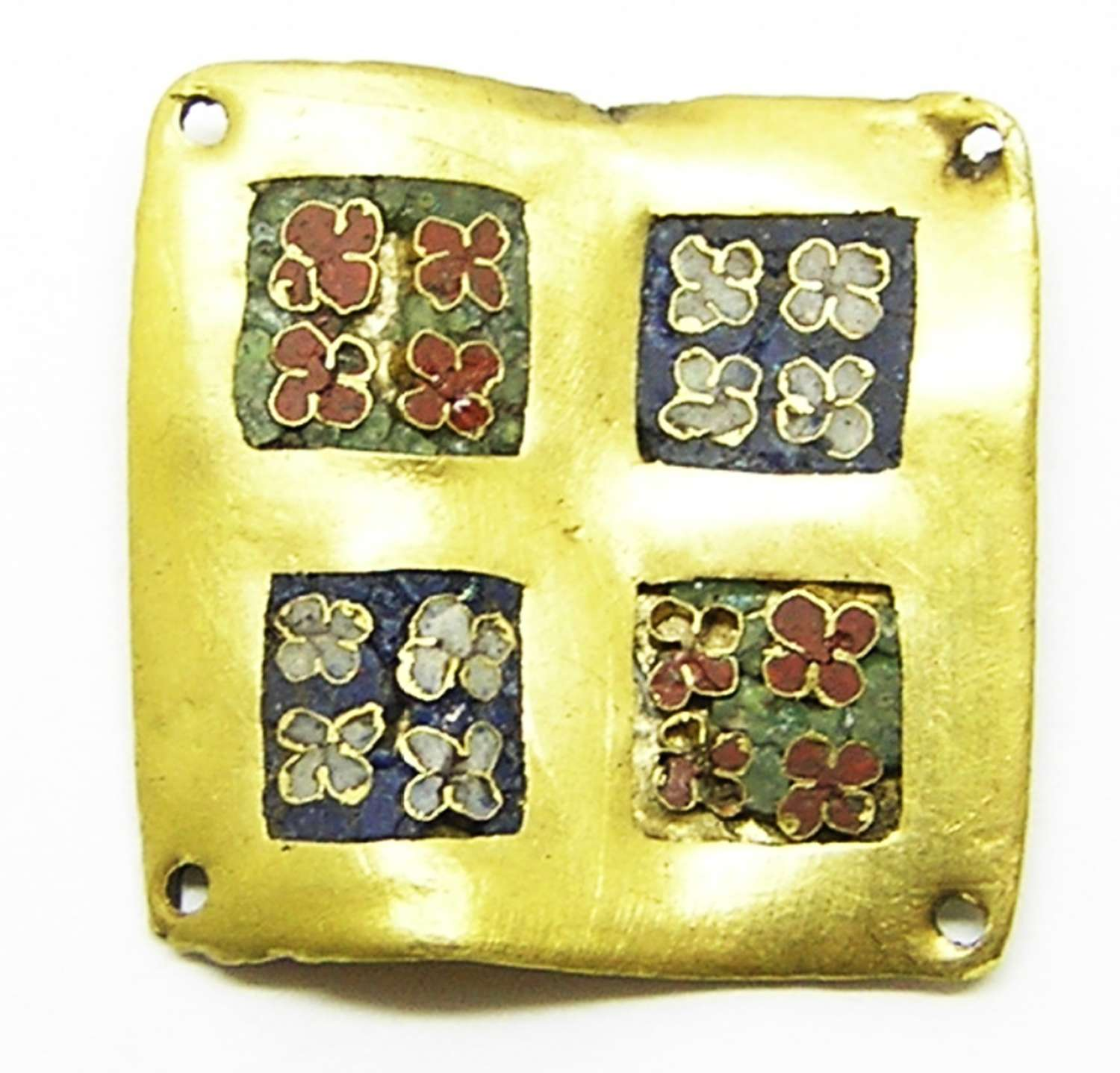 Early Medieval Carolingian gold and cloisonne enamel belt plate