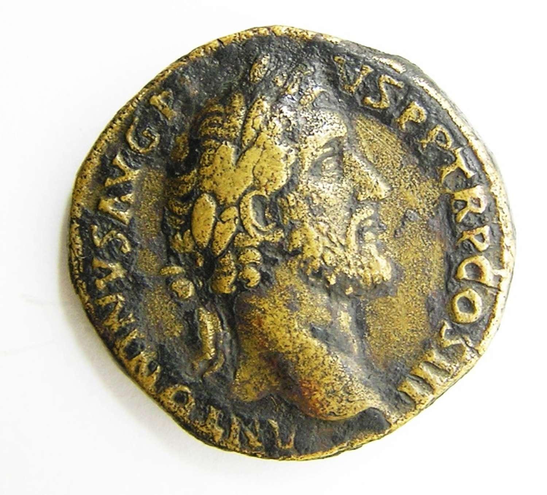 Ancient Roman AE Sestertius of Emperor Antoninus Pius / Salus