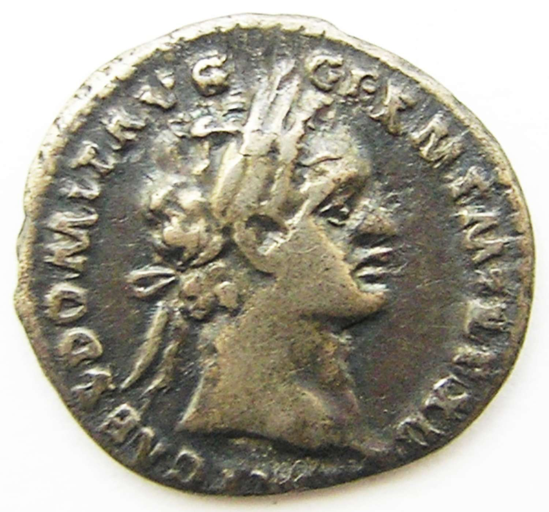 Ancient Roman Silver Denarius of Emperor Domitian / Minerva