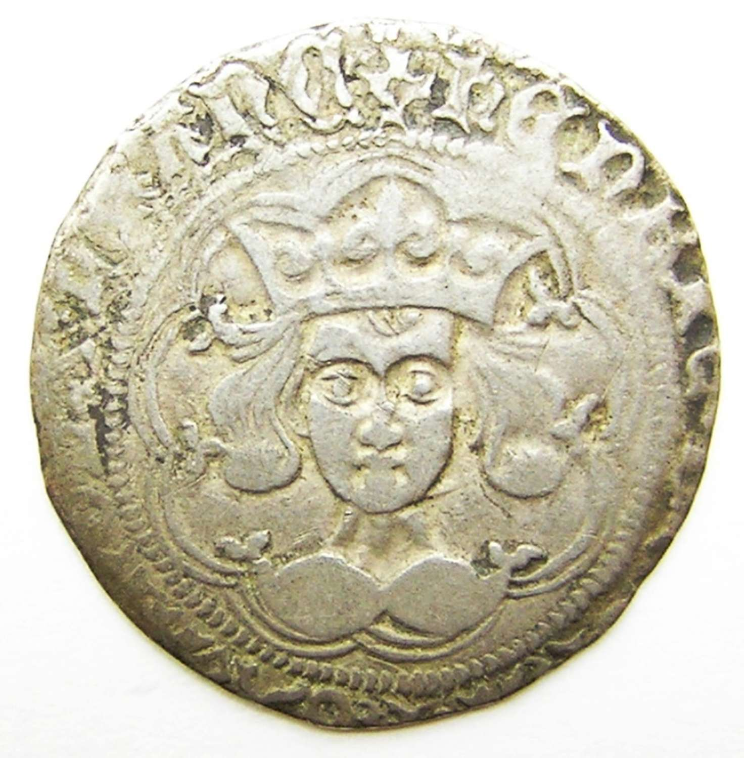 Medieval silver groat of king Henry VI Calais Joan of Arc period