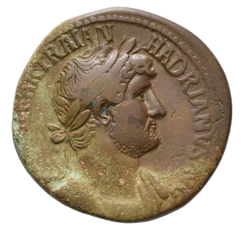 Ancient Roman AE Sestertius of Emperor Hadrian / Minerva