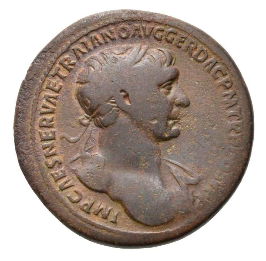 Ancient Roman AE Sestertius of Emperor Trajan / Victory Dacia