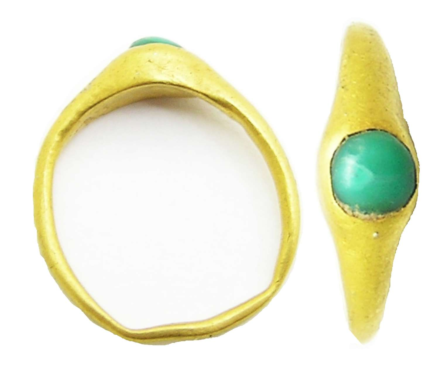 Medieval Gold & Turquoise Stirrup Ring