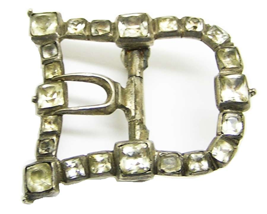 Georgian sterling silver shoe buckle black dot paste brooch conversion